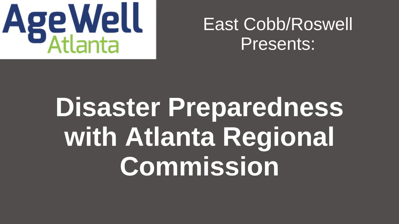 Disaster Preparedness with Atlanta Regional Commission